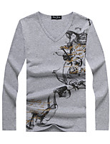 Men's Sleeve Length Tops Type  ,Casual Print   Long Sleeve Fashion Cotton Blend Casual Pure