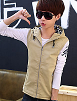 Men's Sleeveless Vest , Cotton / Polyester Casual / Work / Sport Pure
