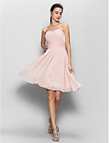 Knee-length Chiffon Bridesmaid Dress - Pearl Pink A-line Sweetheart