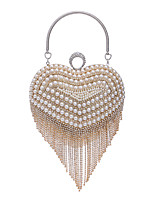 Women Bags All Seasons Polyester Heart Shaped Evening Bag with Rhinestone Pearl Detailing for Wedding Event/Party Formal Gold Silver