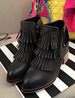 Chaussures Femme - Décontracté - Noir / Vert - Gros Talon - Bout Arrondi - Bottes - Similicuir