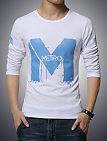 Men's Fashion Round Collar Print Slim Fit Long-Sleeve T-Shirt