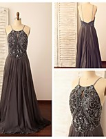 Formal Evening Dress - Silver A-line Spaghetti Straps Sweep/Brush Train Chiffon