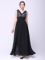 Formal Evening Dress - Black A-line V-neck Ankle-length Chiffon