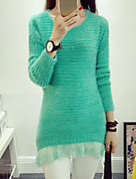 Women's Sweet Candy Color Round Long Sleeve Loose Mohair Pullover