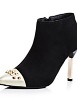 Women's Shoes Fleece Chunky Heel Fashion Boots Boots Office & Career / Dress / Casual Black / Red