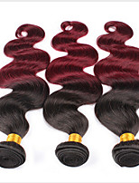 3pcs Ombre Peruvian Virgin Hair Body Wave Wavy Ombre Hair Extensions Red Wine 100% Human Hair Extensions