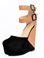 Women's Shoes Fleece Wedge Heel Heels / Closed Toe Heels Party & Evening / Dress / Casual Black
