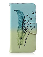 For Samsung Galaxy Case Card Holder / Wallet / with Stand / Flip / Pattern Case Full Body Case Feathers PU Leather SamsungJ5 / J3 / J2 /