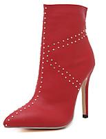 Scarpe Donna - Stivali - Formale - Tacchi / A punta - A stiletto - Finta pelle - Nero / Rosso