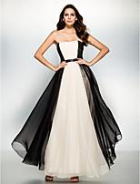 Официальный вечер Платье - Разноцветный Трапеция Без лямок Длина по щиколотку Шифон