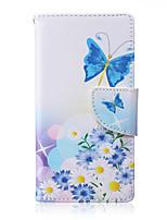 Teste padrão de borboleta pu couro material de cartão de aleta para Samsung Galaxy a3 / a5