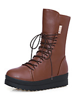 Women's Shoes Leatherette Low Heel Snow Boots / Round Toe Boots Outdoor / Office & Career / Casual Black / Brown