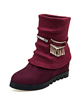 Women's Shoes Leatherette Low Heel Round Toe Boots Outdoor / Office & Career / Casual Blue / Pink / White / Beige