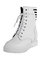 Chaussures Femme - Décontracté - Noir / Blanc - Talon Plat - Rangers - Bottes - Similicuir