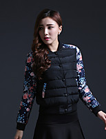Women's Print / Patchwork Black Parka Coat , Casual / Print Round Neck Long Sleeve