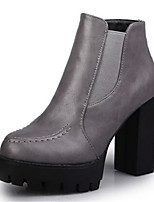 Women's Shoes Chunky Heel Round Toe Boots Casual Black / Gray / Burgundy