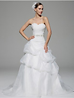 A-line Wedding Dress - White Chapel Train Sweetheart Organza