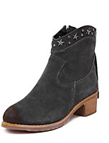 Women's Shoes Fur Chunky Heel Combat Boots Boots Outdoor / Casual Black / Gray
