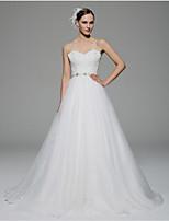 A-line Wedding Dress - White Chapel Train Spaghetti Straps Organza