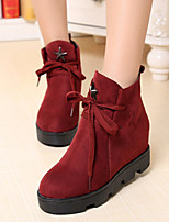Women's Shoes Preppy Style Wedge Heel Round Toe British Boots Casaul Black/Red