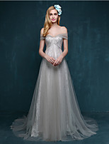 Formal Evening Dress - Silver A-line Sweetheart Court Train Lace / Tulle