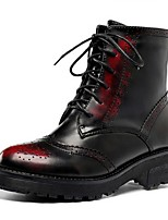 Women's Shoes Leather Chunky Heel Combat Boots / Round Toe Boots Outdoor / Dress / Casual Red / Silver