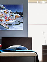 E-HOME® Stretched LED Canvas Print Art Christmas Series LED Flashing Optical Fiber Print One Pcs