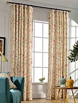 (Two Panels)Modern Floral Print Cotton Polyester Blend Energy Saving Curtain(Sheer Not Included)