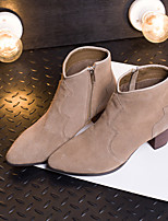 Women's Shoes Suede Chunky Heel Bootie / Pointed Toe / Closed Toe Boots Dress / Casual Black / Brown / Gray