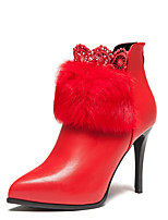 Wangfeier®Women's Shoes Leatherette Stiletto Heel Fashion Boots / Bootie / Pointed Toe Boots Dress / Casual Black / Red