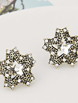Women's Fashion Sweet Temperament Rhinestone Star Stud Earrings
