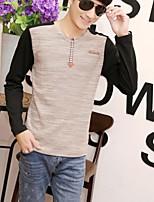 Men's Sleeve Length Tops Type  , Fashion V neck Long Sleeve Cotton Blend Casual Pure