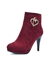 Women's Shoes Leatherette Stiletto Heel  / Round Toe Boots Outdoor / Office & Career / Casual Black / Blue / Burgundy