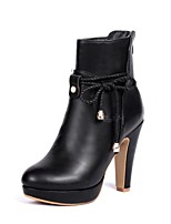 Women's Shoes Chunky Heel Round Toe / Closed Toe Boots Office & Career / Dress / Casual Black / White / Bone
