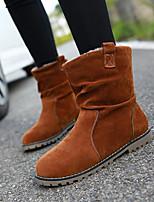 Women's Shoes Fleece Flat Heel Fashion Boots / Combat Boots Boots Party & Evening / Dress / Casual Black / Blue / Brown