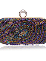 Women Polyester / Metal Minaudiere Clutch / Evening Bag - Purple