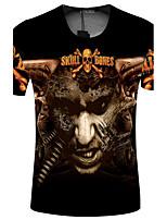 CliffWalker Man 3 d skull shape digital printing round collar short sleeve T-shirt