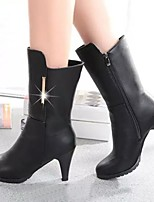 Women's Shoes Lady Stiletto Heel Round Toe Mid-Calf Boots Casual Black