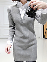 Women's Solid / Patchwork / Color Block Pink / Black / Purple / Gray Pullover , Casual Long Sleeve