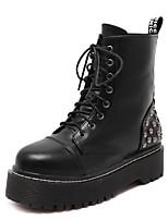 Zapatos de mujer - Tacón Plano - Comfort - Botas - Exterior - Semicuero - Negro