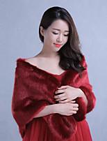 Burgundy Sleeveless Wedding / Party/Evening / Casual Imitation Cashmere Shawls / Wraps for Plus Size