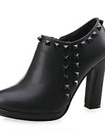 Women's Shoes Leather Chunky Heel Heels / Bootie Heels / Boots Office & Career / Party & Evening / Dress Black