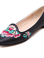 Women's Shoes Leather Flat Heel Comfort / Pointed Toe / Closed Toe Flats Dress / Casual Black