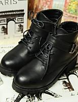 Chaussures Femme - Extérieure / Décontracté - Noir / Gris - Gros Talon - Bout Arrondi / Bottes à la Mode - Bottes - Similicuir