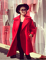 Women's Solid Red Coat  Vintage  Casual Long Sleeve Tweed