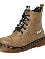 Zapatos de mujer - Tacón Robusto - Botas Anfibias / Punta Redonda - Botas - Exterior / Casual - Semicuero - Negro / Caqui