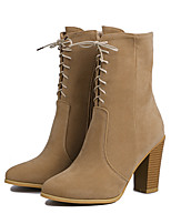 Women's Shoes Fleece Chunky Heel Fashion Boots / Pointed Toe Boots Office & Career / Dress Black / Khaki
