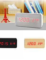 Red Light USB Dual-Screen Rectangular Wooden LED Clock
