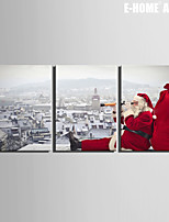 E-HOME® Stretched Canvas Art Santa Claus Christmas Series Decoration Painting  Set of 3